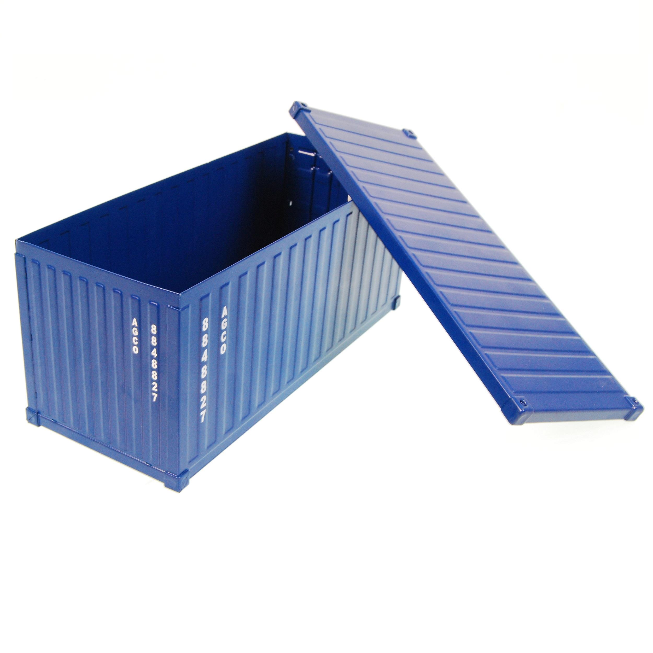 Mini container blauw bedrukt met logo