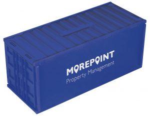 Spaarpot in container vorm blauw bedrukt met logo