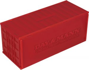 Spaarpot in container vorm rood bedrukt met logo