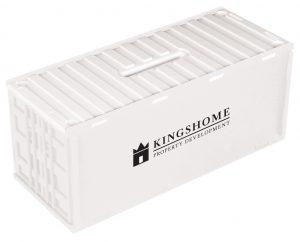 Spaarpot in container vorm wit bedrukt met logo