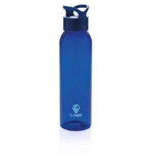 blauwe waterfles bedrukt met logo