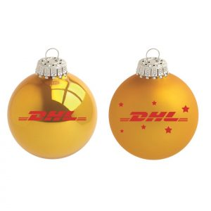 DHL Kerstbal geel met logo