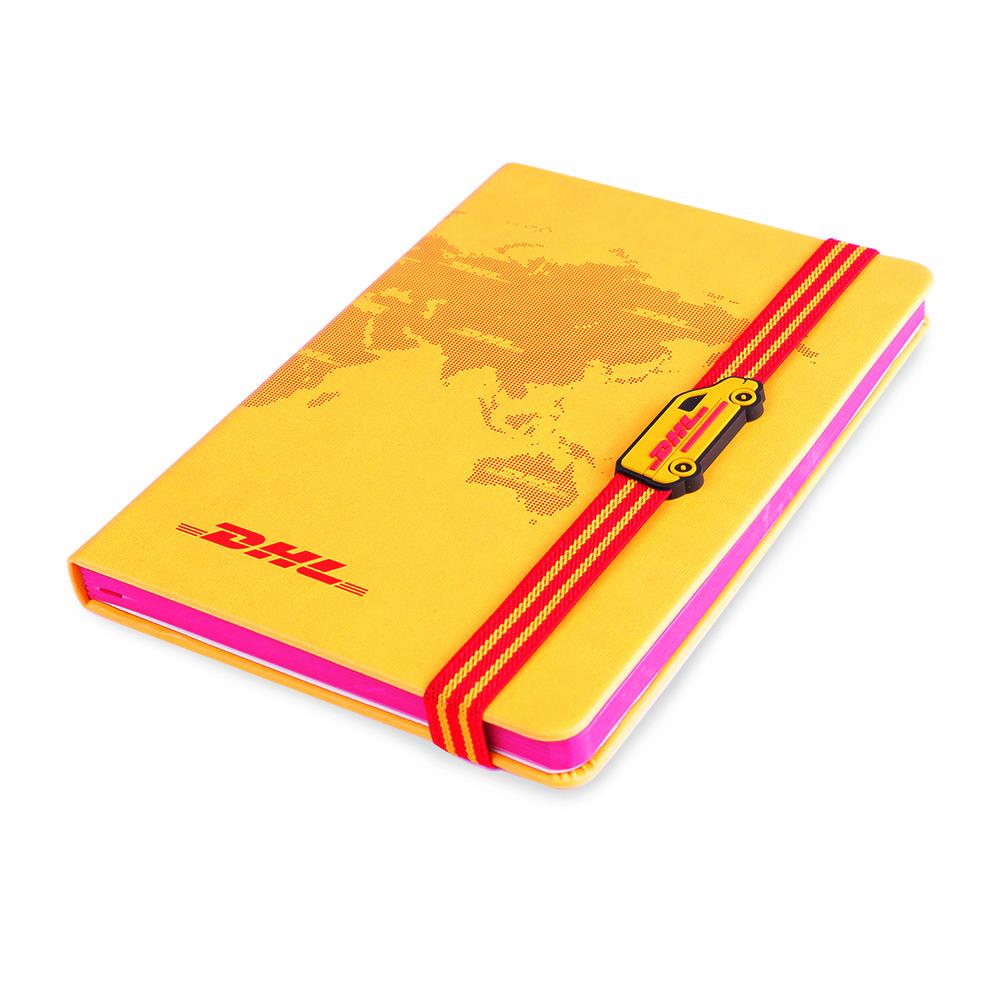 DHL notitieboekje met bestelbus elastiek