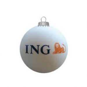 Een met logo bedrukte kerstbal  ING