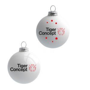 Witte kerstbal met logo bedrukt