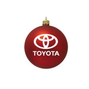 Toyota kerstbal rood als relatiegeschenk bedrukt