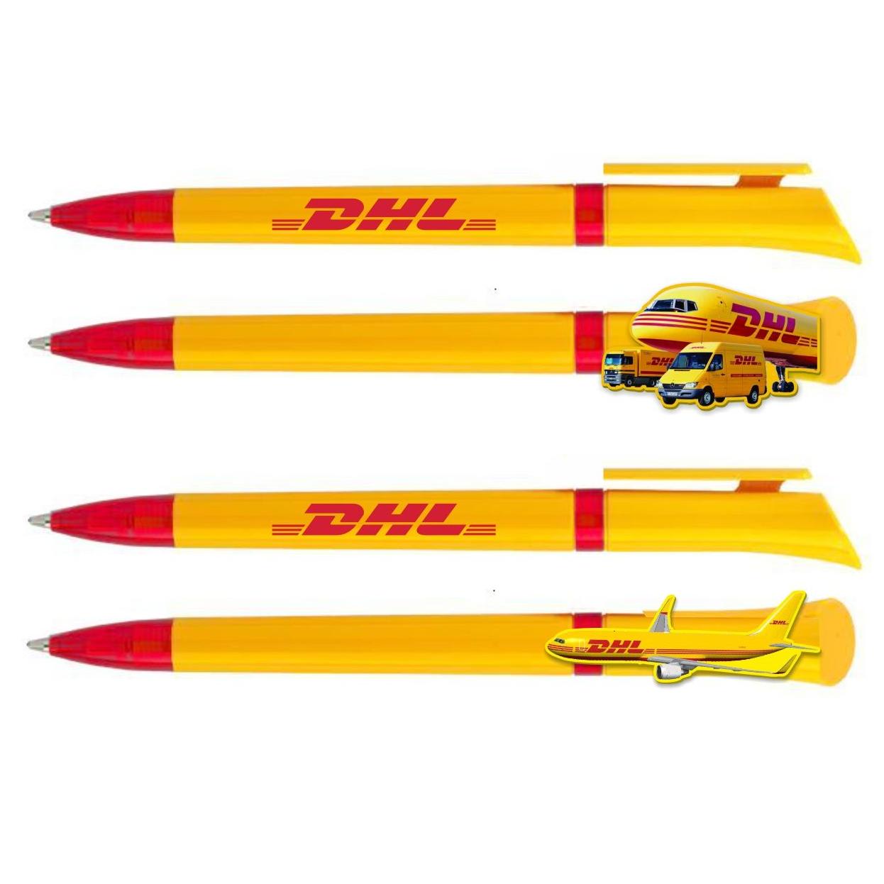 DHL pen met clip in vliegtuig vrachtwagen vorm