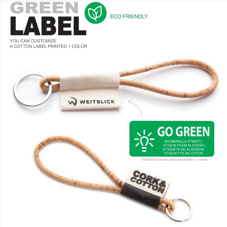 Kurk ECO sleutelhanger met logo bedrukt