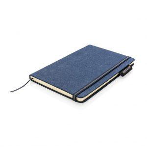 Deluxe A5 denim notitieboek, donkerblauw bedrukt met pen