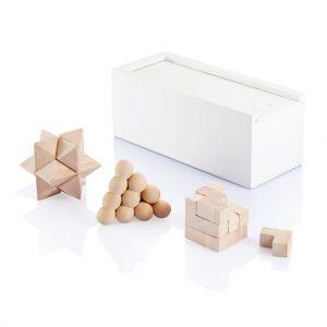 3-delig denkspel hout met logo