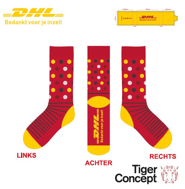 DHL logo sokken met stippen rood