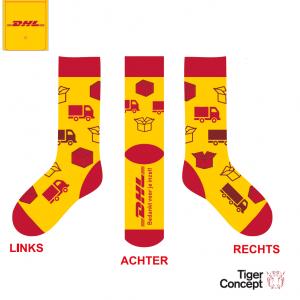 DHL sokken parcel vrachtwagen met logo