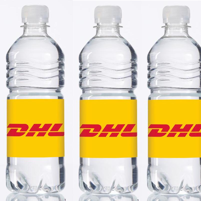 DHL water in plastic flesje