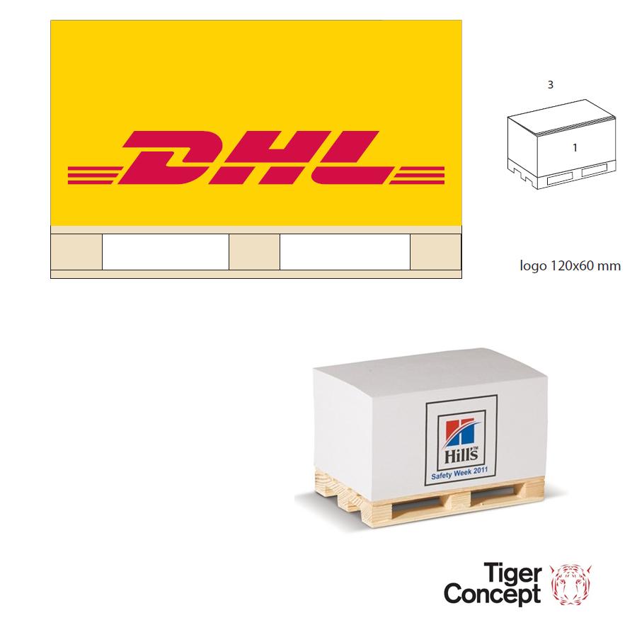 DHL papierblok met pallet