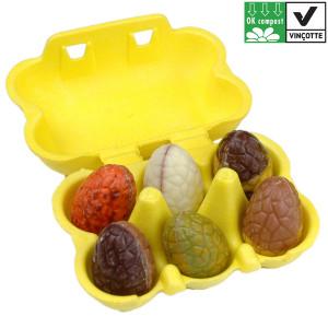 chocolade paaseidoos-geel-6-bonboneitjes-ok biologisch