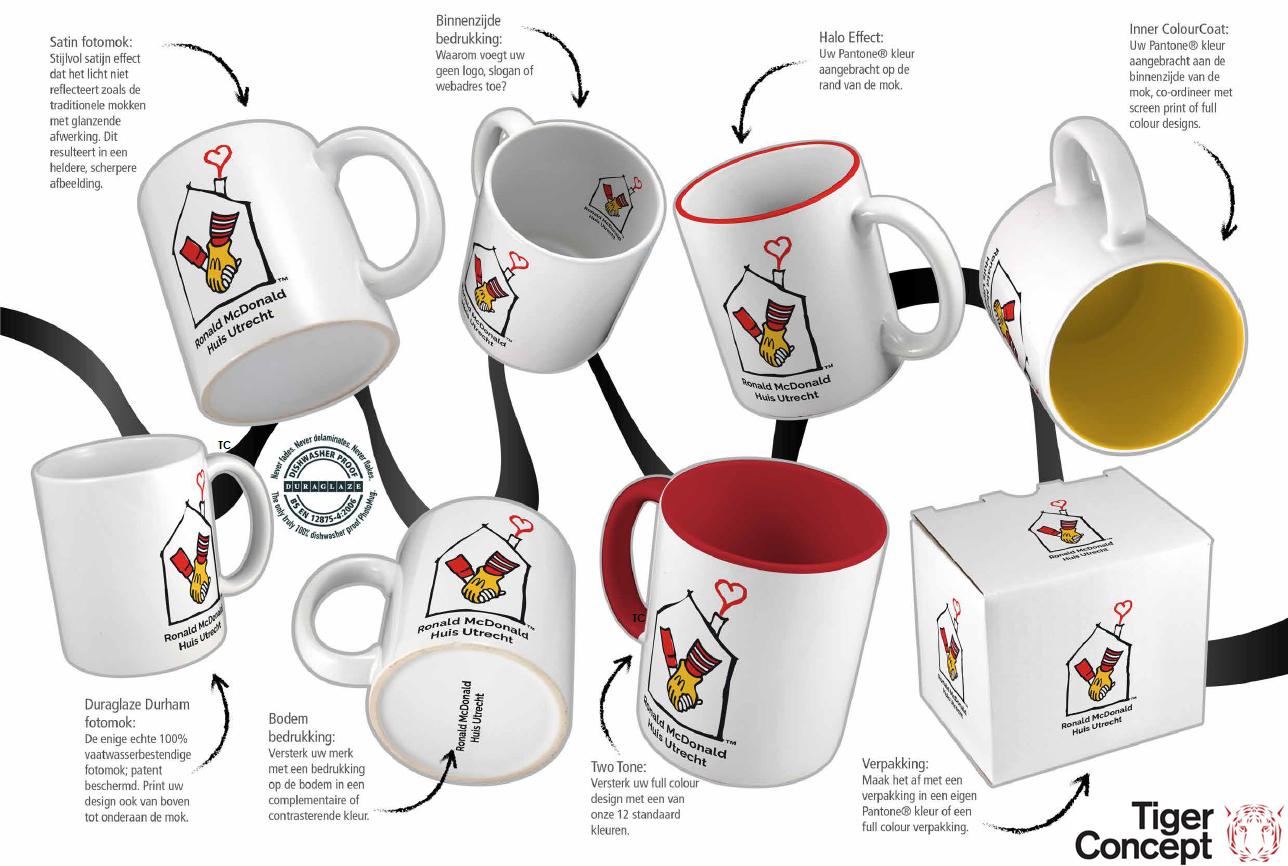 Ronald McDonalds koffiemok met bedrukkingsmogelijkheden