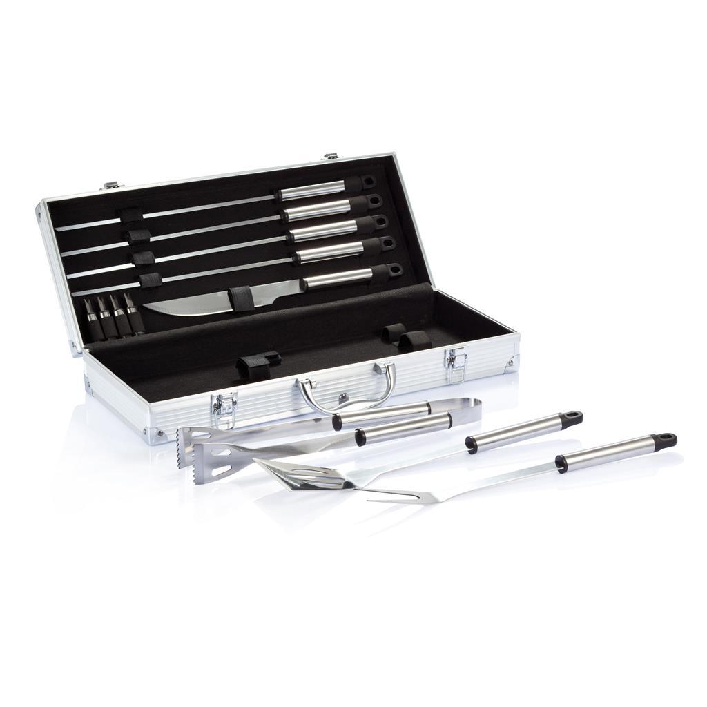 12-delige barbecue set in aluminium koffer als relatiegeschenk