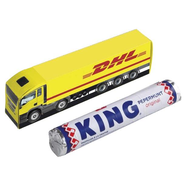 DHL vrachtwagen met KING rol pepermunt