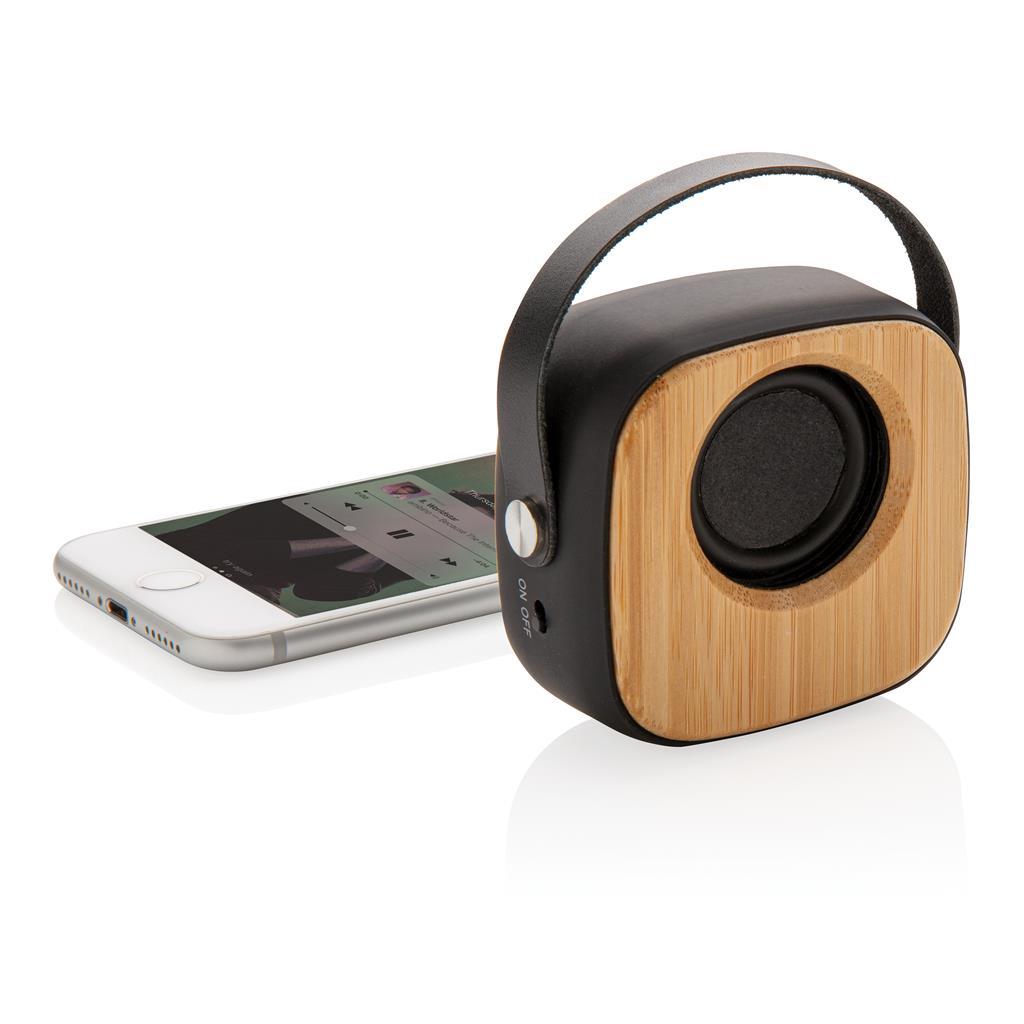 Bamboe 3W draadloze fashion speaker als relatiegeschenk met logo