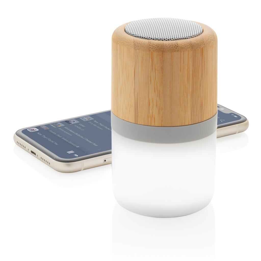 Draadloze bamboe 3W speaker met sfeerlicht bedrukken als relatiegeschenk
