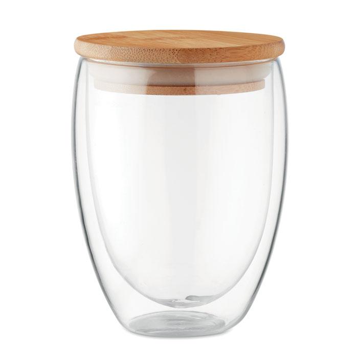 Dubbelwandig borosilicaat glas inclusief bamboe deksel