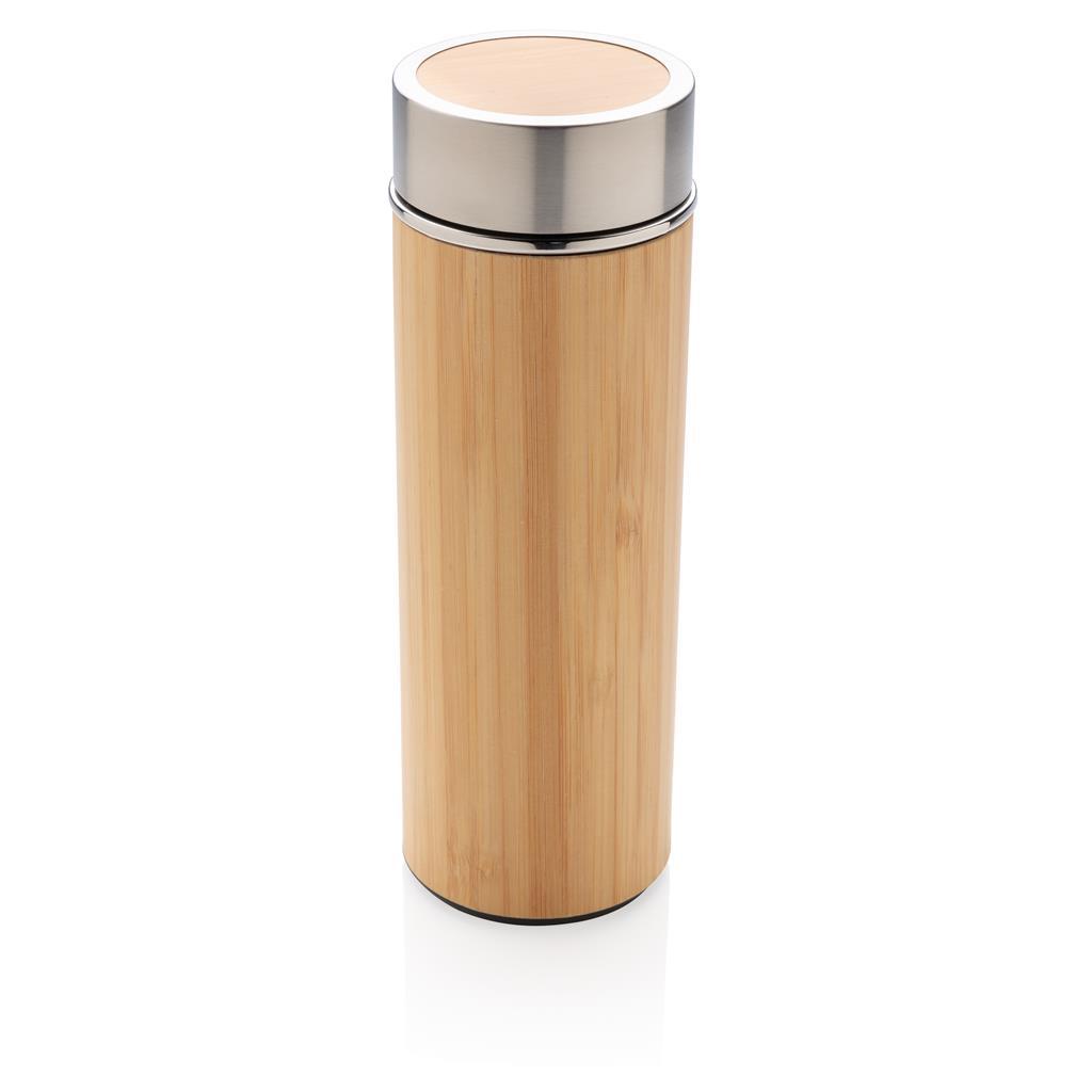 Lekvrije bamboe vacuüm fles bedrukt met logo