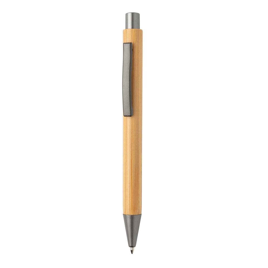 Slim design bamboe pen met logo als relatiegeschenk