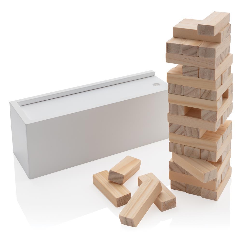 Deluxe houtblok stapelspel met logo  als relatiegeschenk