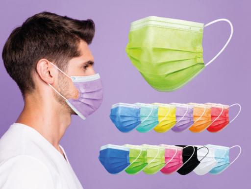 Wegwerp mondmaksers in vele kleuren, rood,paars, groen, blauw