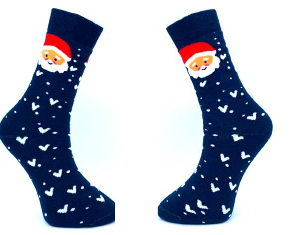 Blauwe kerstsokken en logo als relatiegeschenk