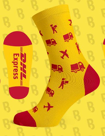 DHL sokken geel met parcel en vrachtwagen