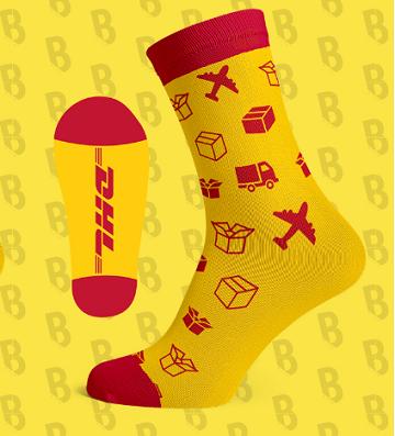 DHL logo sokken met strepen geel rood