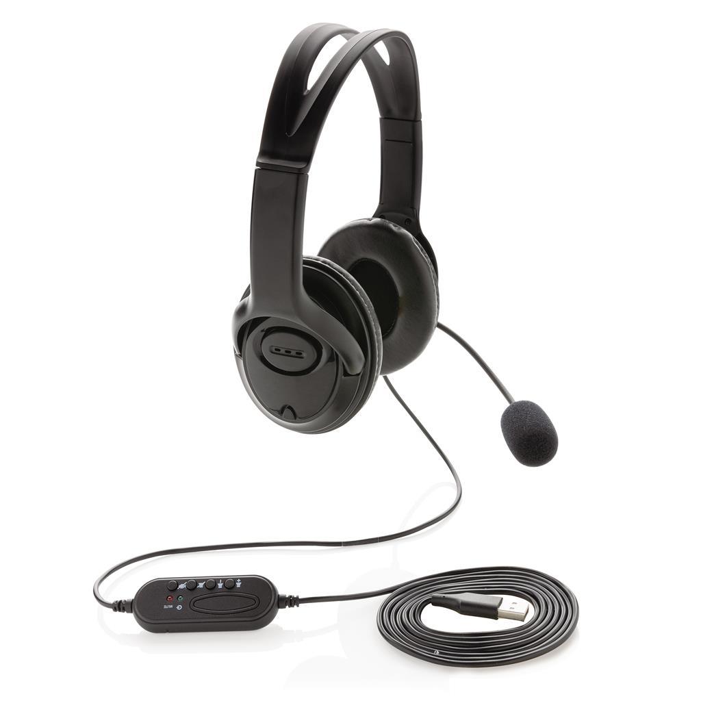 Over ear werk hoofdtelefoon met kabel bedrukken